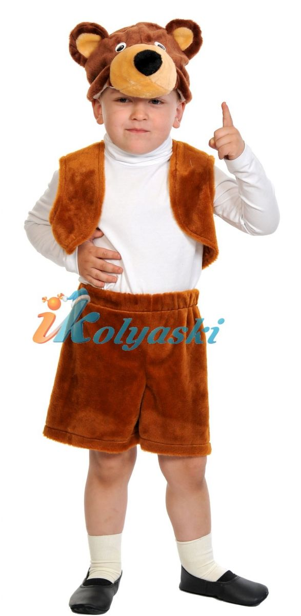 Костюм Бурого медведя Лайт, костюм Бурого медведя, костюм Бурого мишки плюш, размер единый, рост 92-122 см, на 2-6 лет. В комплекте: шорты, жилет, шапка