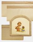 защитные бортики в кроватку для новорожденного Панно, цвет кремовый, бежевый