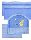 мягкие бортики в кроватку для новорожденных Вышивка, цвет голубой