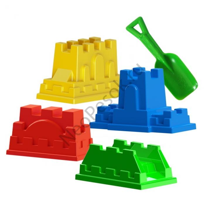детский песочный пластиковый набор. Песочный набор формочек КРЕПОСТЬ  с совочком, артикул Р61515, Snowmen. Новинка.