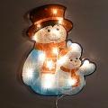 Новогодняя гирлянда на стену, новогодняя гирлянда на окно. Электрогирлянда панно СНЕГОВИКИ,  Новогодняя электрическая гирлянда панно СНЕГОВИКИ, панно на стену, на окно, Гирлянда-вывеска, 30 ламп, 220V, размер панно 45х37 см, цвет ламп белый, 8 режимов мигания, упакована в коробке, артикул  CH-215-30L,  код 132577