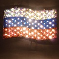 Электрическая гирлянда Российский флаг, 100 белых ламп, 220V, 29х47 см, 8 режимов, белый провод, артикул CH-269-100L, код 132603, фирма Laplandia, новогодние гирлянда, электрическая гирлянда, гирлянда в виде флага России, российский флаг