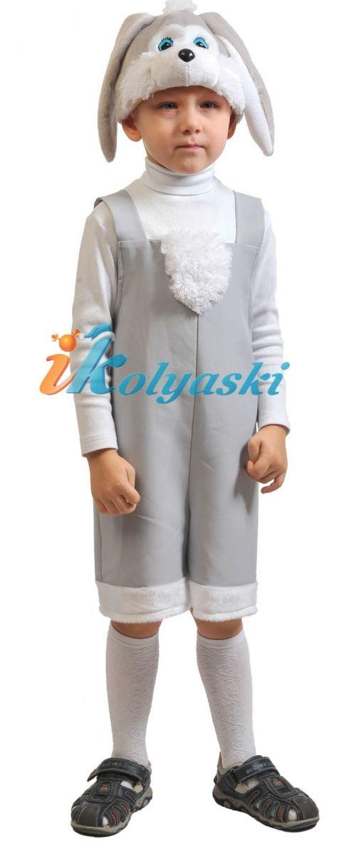Костюм Зайчика СЕРОГО ТКАНЬ-ПЛЮШ, костюм зайчика для мальчика, костюм серого зайца, размер единый, рост 92-122, на 2-6 лет, артикул 2005. В комплекте: шорты с хвостиком, жилетик, шапочка.