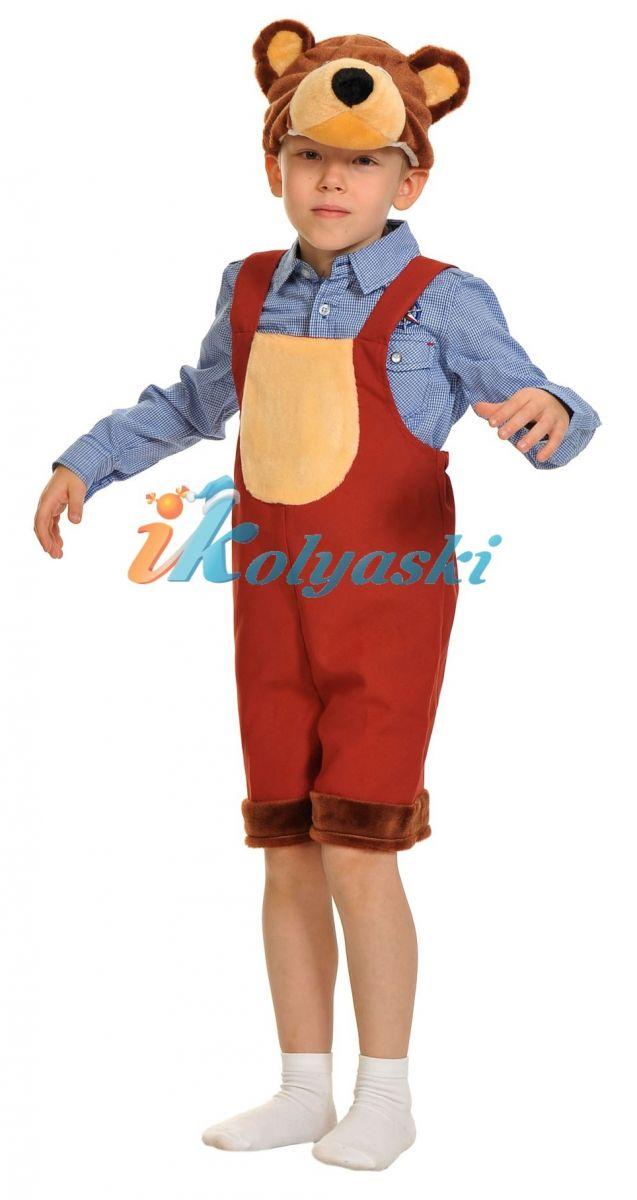 Костюм Бурого медведя ТКАНЬ-ПЛЮШ, костюм Бурого медведя для мальчика, костюм Бурого мишки, размер единый, рост 92-122 см, на 2-6 лет, артикул 2010. В комплекте: полукомбинезон и шапка