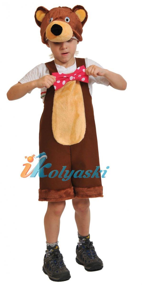 Костюм Медведя циркового ТКАНЬ-ПЛЮШ, костюм Медведя бурого детский, костюм медведя детский Маша и Медведь, размер единый, на 2-6 лет, рост 92-122 см, артикул 2038. В комплекте: полукомбинезон и шапка