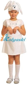 Костюм Заинька БЕЛАЯ ПЛЮШ для девочки, костюм зайки, костюм зайчихи, костюм зайчика для девочки, размер единый, рост 92-122 см. на 2-6 лет, артикул 3006. В комплекте: сарафан и шапка