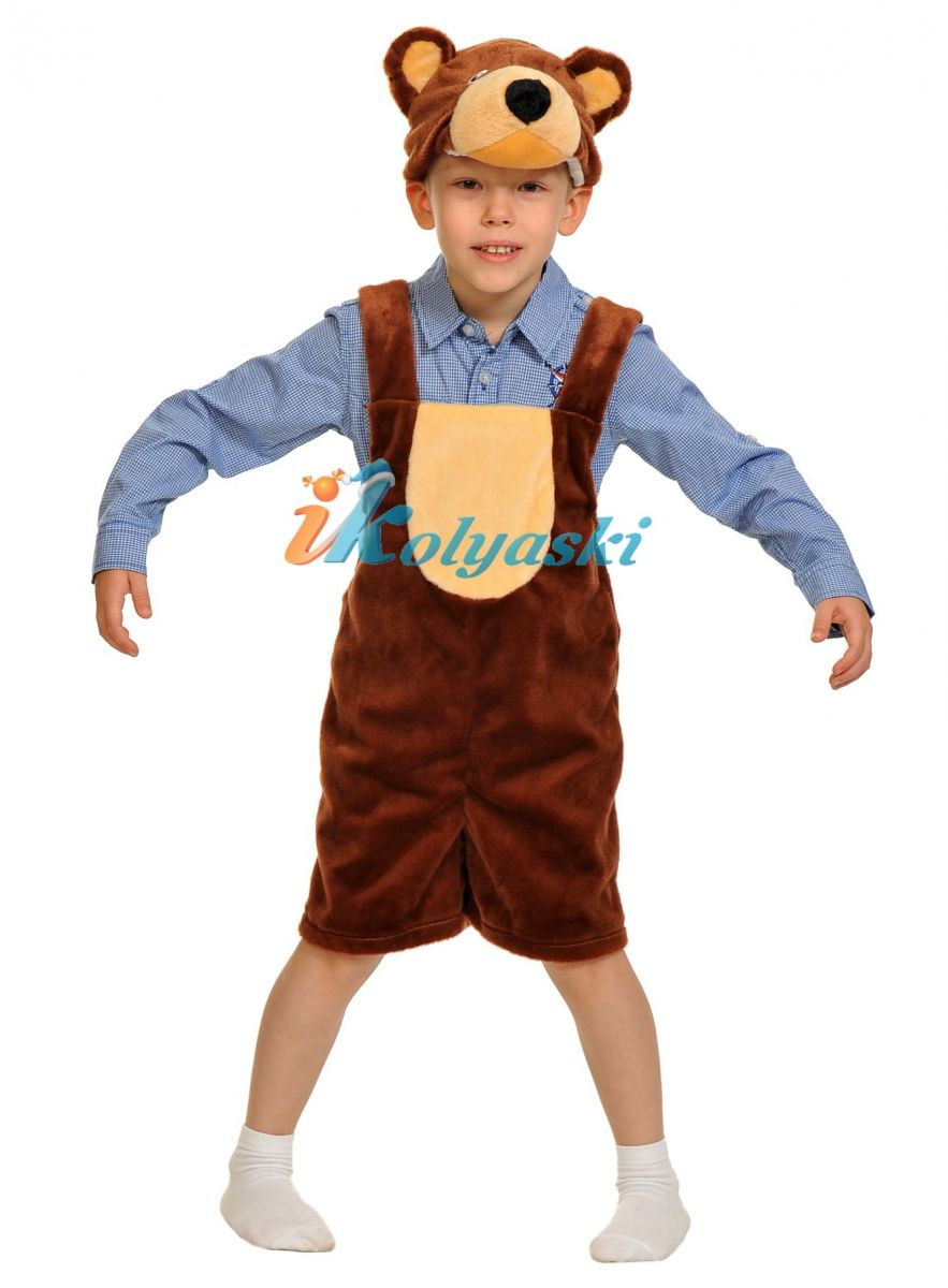 Костюм Бурого медведя ПЛЮШ, костюм Бурого медведя, костюм Бурого мишки для мальчика, размер единый, рост 92-122 см, на 2-6 лет, артикул 3010. В комплекте:  полукомбинезон и шапка