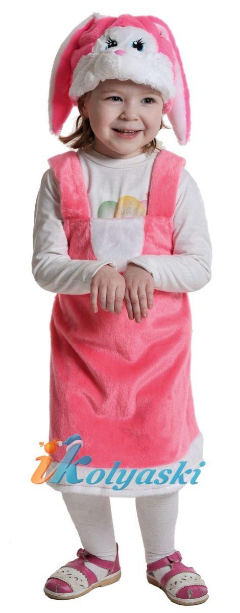 Костюм Заинька РОЗОВАЯ Плюш, костюм зайчихи для девочки, костюм зайки для девочки, костюм зайчика для девочки, размер единый, рост 92-122 см, на 2-6 лет, артикул 3067