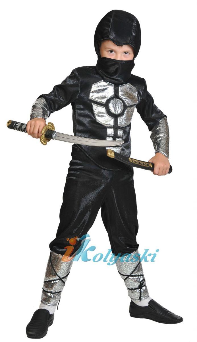 Костюм Ниндзя Смоук, Ниндзя Нуб Сайбот, Ниндзя Черный с серебром, с мускулатурой,  меч-катана в комплекте, размер М, рост 128-134 см, на 7-9 лет.
