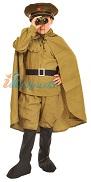 Военный костюм Командир с биноклем, детская военная форма, размер S, на 4-6 лет, рост 116-122 см. В комплекте: фуражка, гимнастёрка, ремень, галифе, сапоги, плащ-палатка, бинокль с компасом,  георгиевский бант.