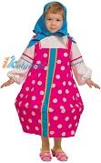 Костюм Матрешки детский, детский карнавальный костюм русской народной традиционной деревянной куклы МАТРЕШКИ, цвет МАЛИНОВЫЙ, размер S, рост 116-128 см, Карнавалофф