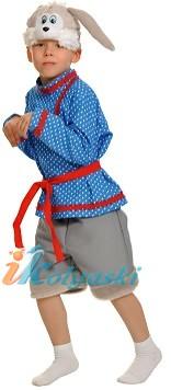 Костюм Зайчика Побегайчика, костюм Зайчика, костюм серого зайки, костюм зайчонка, костюм зайца. Детский карнавальный костюм Зайчик Побегайчик серый. Безразмерный, от 3 до 7 лет, рост 98-134 см.  В комплекте: шапка-маска, шорты, рубаха, пояс.