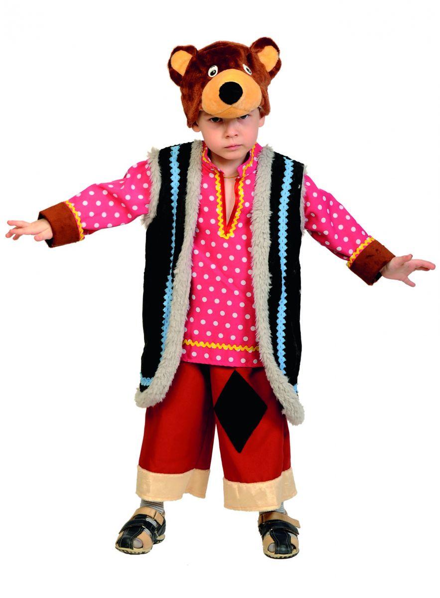 Детский карнавальный костюм Михаил Потапыч, костюм медведя бурого, костюм мишки Михайл Потапыч на рост 98-134 см, на 3-7 лет.  В комплекте шапка-маска, рубаха с жилетом, бриджи