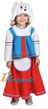 Костюм Зайки Хозяйки, костюм Зайца для девочки. Детский карнавальный костюм из Зайка Хозяйка. На возраст 3-7 лет или рост 98-134 см. В комплекте шапка-маска, блузка, юбка с передником.