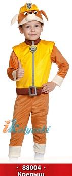 Костюм Крепыша из мультфильма Щенячий Патруль, детский карнавальный костюм щенка ангийского бульдога строителя Крепыша. Костюм для ребенка от 3 до 8 лет, ростом 98-132 см, артикул 88004