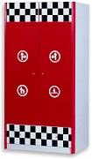 Детский шкаф для одежды Формула 1 , серия детской мебели Лотус, цвет красный, материал МДФ