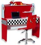 рабочий письменный стол детский, компьютерный стол для ребенка, серия Формула 1, Лотус, цвет красный, материал МДФ