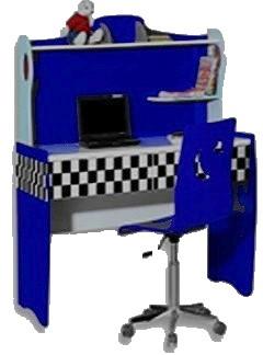 рабочий компьютерный стол детский для мальчика, серия Формула 1, Лотус, цвет синий, материал МДФ Красивый детский письменный стол с удобной выдвижной столешницей под клавиатуру. Есть удобное место также и для системного блока. В компьютерном детском столе имеется ящик для тетрадей и письменных принадлежностей. Над столом есть полка для книг и дисков. Стул, как на картинке, можно у нас купить отдельно, в стоимость письменного стола он не входит.