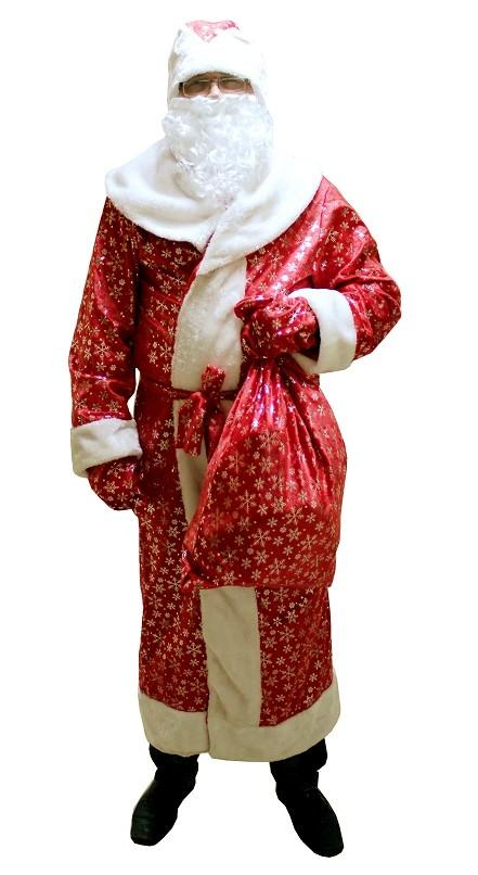 Новогодний костюм Деда Мороза, профессиональный костюм Деда Мороза в комплекте с мешком для подарков, Батик-ЛМ. Красивый красный костюм Деда Мороза, украшенный большими серебристыми снежинками, удобен мужчинам от 48 размера до 54, подходит на рост 175-190 см.