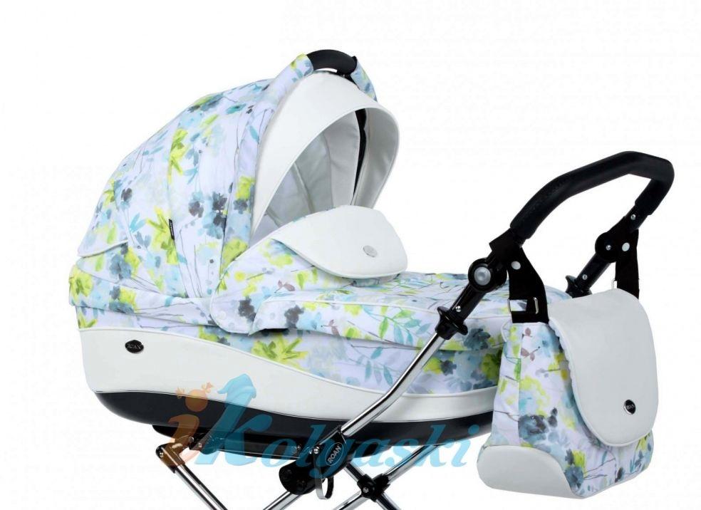 Детская коляска для новорожденных Roan Emma Chrome 3 в 1, Роан Эмма Хром на 14 дюймовых надувных колесах, цвет RP1