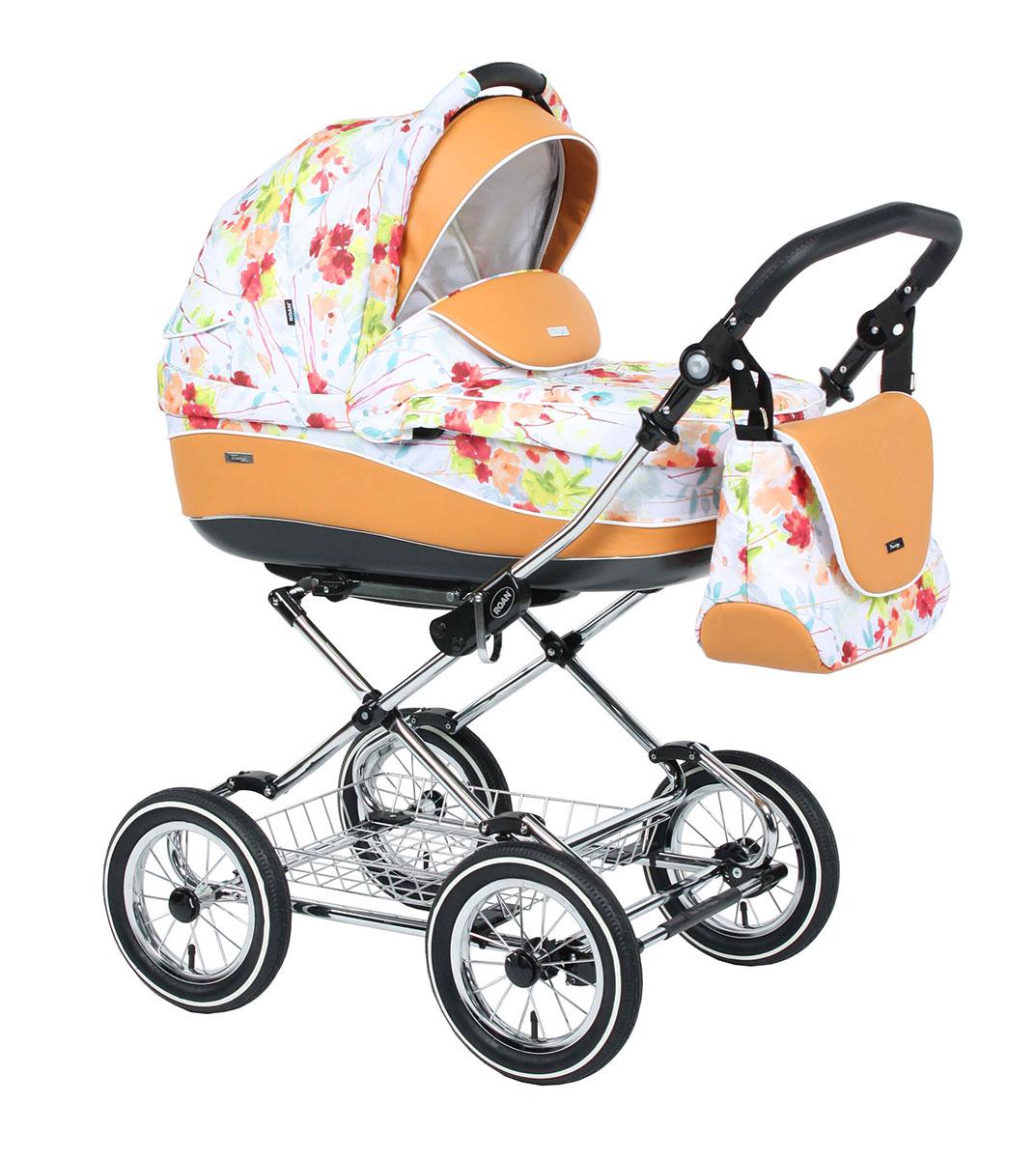 Детская коляска для новорожденных Roan Emma Classic 3 в 1, Роан Эмма Классик на крашенной раме и 12 дюймовых надувных или литых колесах. Элегантная и комфортная коляска 3в1 с мягкой подвеской, в комплекте с автокреслом для новорожденного малыша. Это детское автокресло ставится на шасси коляски Роан Эмма Классик. Удобно для мобильных родителей.