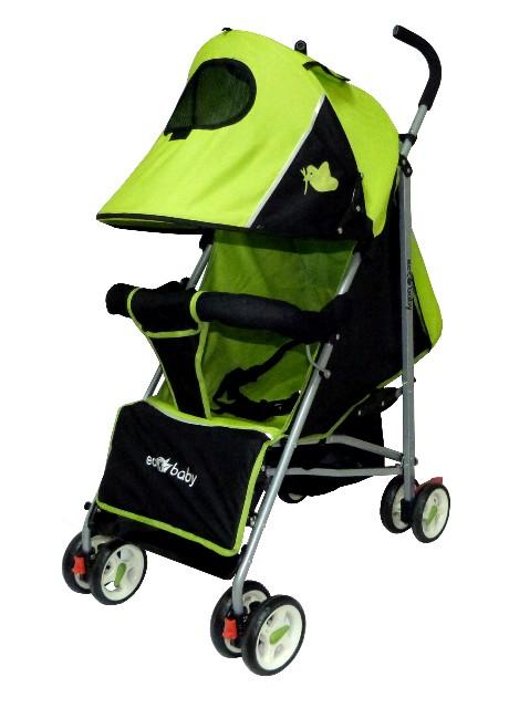 коляска-трость Ecobaby Tropic, цвет графитовый с  желтым, детская коляска трость, легкая трость, легкая коляска трость купить, бампер, колпак до бампера