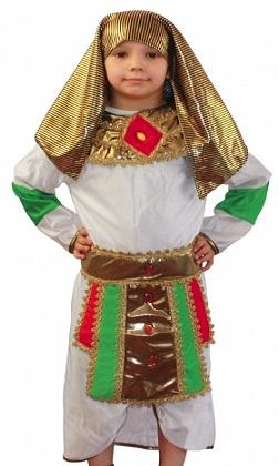 Детский карнавальный костюм Фараона для мальчика. Костюм Египетского фараона. Костюм Тутанхамона, костюм Эхнатона. Египетский костюм Фараона. Детский карнавальный костюм Фараона для мальчика, размер S, на 4-6 лет, рост 116-122 см, артикул 85136