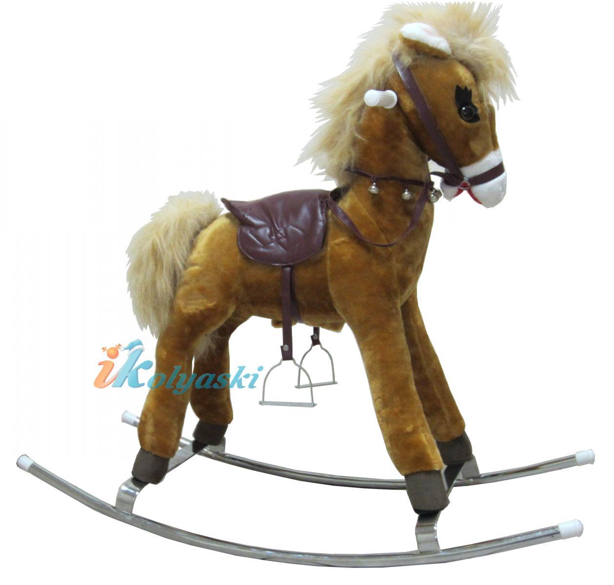 Детская лошадка-качалка Каурая рыже-саврасая, с гипоаллергенным мехом, металлическая качалка, озвученная, на батарейках, модель Любимка