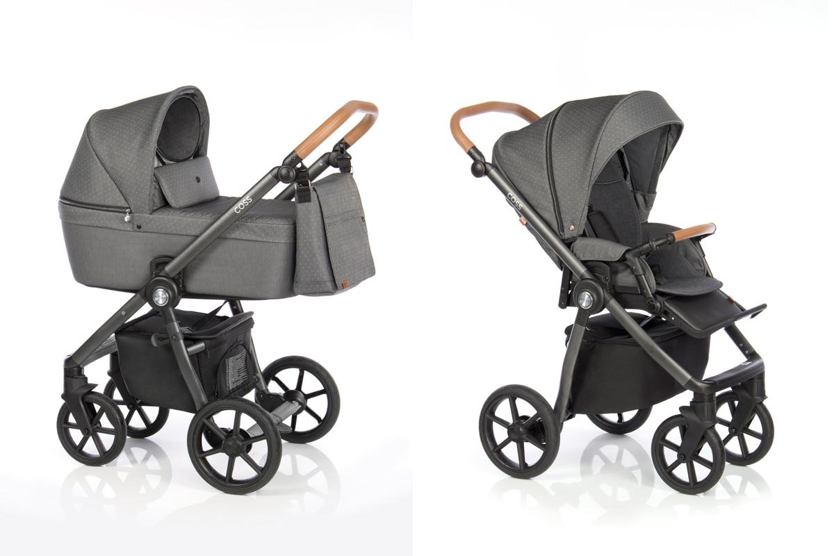 Roan Coss коляска для новорожденных 3 в 1 с компактной складной рамой новинка 2019 , цвет Black Dots