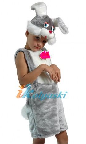 Костюм Зайца, Костюм Зайчика для мальчика, костюм серого зайки, костюм зайчонка, костюм зайца.  Детский карнавальный костюм из искусственного меха Зайчик серый, фирма  Остров игрушки - КАРНАВАЛИЯ