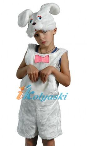 Костюм Зайчика для мальчика. Детский карнавальный костюм из искусственного меха Зайчик белый. Остров игрушки - КАРНАВАЛИЯ. Детский карнавальный костюм зайца белого
