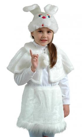 Костюм Зайца для девочки, костюм Зайки для девочки. Детский карнавальный костюм Зайка белая для девочек, ЗАЙКА БЕЛАЯ ДЕВОЧКА МЕХ ОСТРОВ ИГРУШКИ КАРНАВАЛИЯ