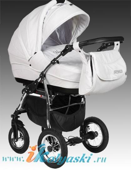 детская коляска Aneco Venezia, белая кожаная коляска для новорожденных. Самая модная модель.