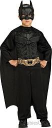 Новый костюм Бэтмена Темный Рыцарь - The Dark Knight Trilogy с 3D пластиковой маской, комбинезон с принтованной мускулатурой на груди и принтованным ремнем, плащ в комплекте, размер L на 7-10 лет, рост 127 - 137 см на блистере, Rubies