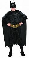 Костюм Бэтмена Темный рыцарь The dark Knight Trilogy с  3D пластиковой маской, плотный эластичный комбинезон с принтованной мускулатурой на торсе и на ногах, ремень и плащ в комплекте размер S на 3-6 лет, рост 104 - 122 см, в пакете, Rubies