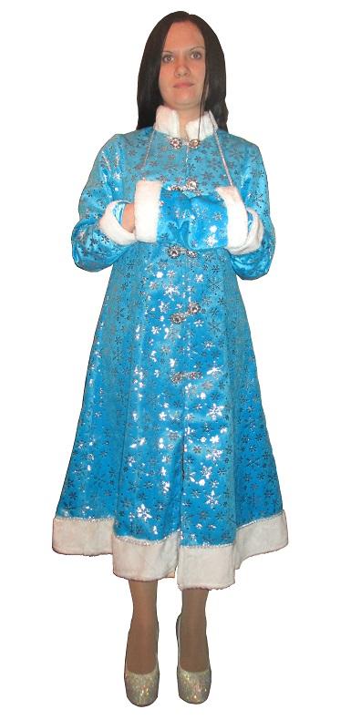 Новогодний костюм Снегурочки для взрослых, шубка, муфта, голубой (бирюзовый оттенок) с серебряными снежинками, костюм Снегурки,  размер 44-46, фирма Батик-ЛМ, Россия.