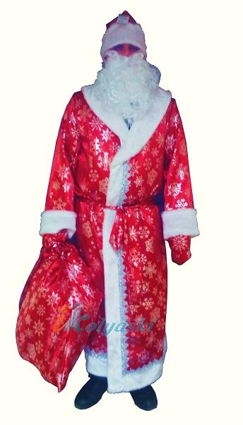 Костюм Деда Мороза красный с большими серебристыми снежинками. Профессиональный костюм Деда Мороза, фирма Батик. В комплекте: шуба, шапка, борода, кушак, рукавицы, мешок для подарков.  Карнавальный костюм Деда Мороза, костюм для крупных мужчин, размер 48-56