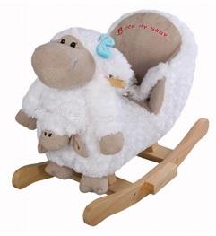 Детское мягкое кресло-качалка МУЗЫКАЛЬНАЯ НЕЖНАЯ ОВЕЧКА С ИГРУШКОЙ НА РУКУ ЯГНЕНКОМ, артикул JR2580. Нежная фактура приятного на ощупь ворса, веселые мелодии и забавный внешний вид Нежной овечки с игрушкой-малышом сделали эту качалку любимой игрушкой малышей в возрасте от 6 месяцев, когда ребенок уже научился самостоятельно сидеть.