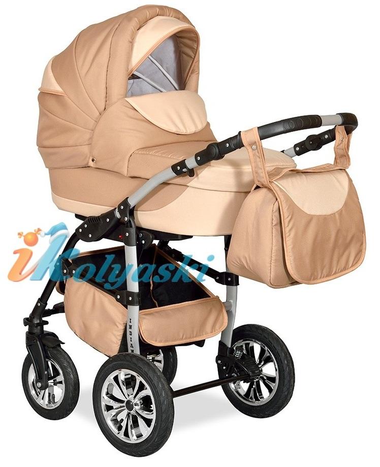 Детская Коляска 2 в 1 с поворотными колесами, коляска для новорожденных, модульная коляска с прогулочным блоком INDIANA '17  2 в 1 , фирма Smile Line, Польша. Цвет IN 20
