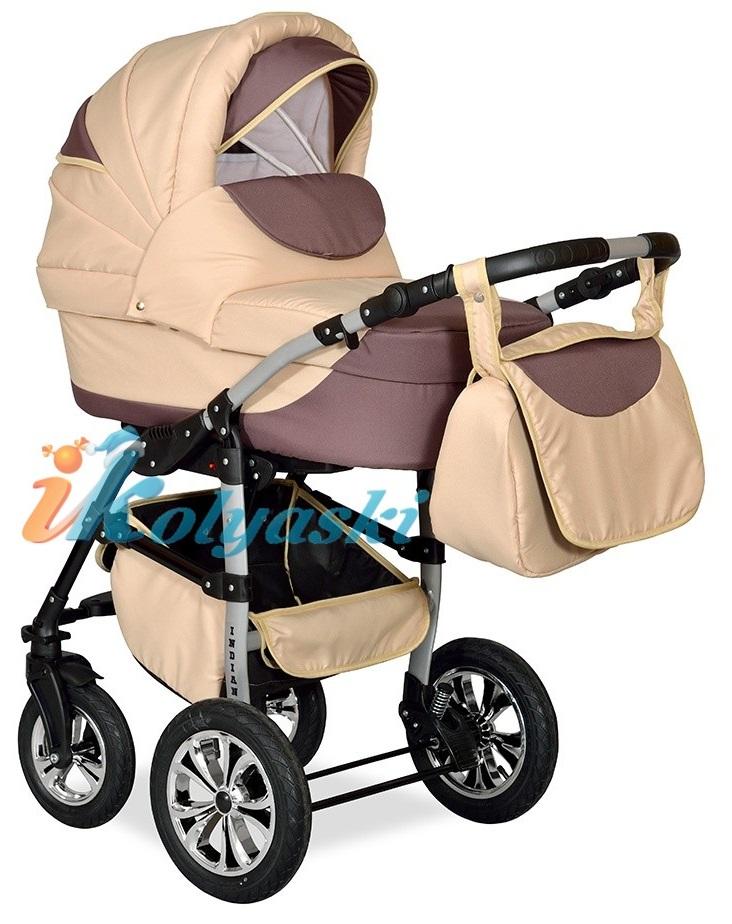 Детская Коляска 2 в 1 с поворотными колесами, коляска для новорожденных, модульная коляска с прогулочным блоком INDIANA '17  2 в 1 , фирма Smile Line, Польша. Цвет IN 21