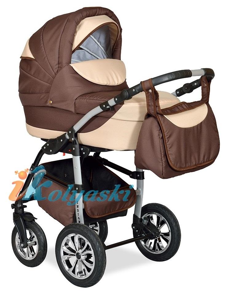 Детская Коляска 2 в 1 с поворотными колесами, коляска для новорожденных, модульная коляска с прогулочным блоком INDIANA '17  2 в 1 , фирма Smile Line, Польша. Цвет IN 22