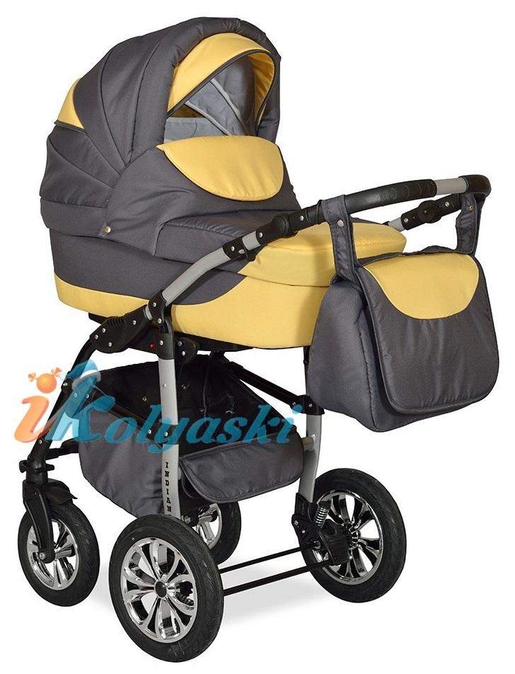 Детская Коляска 2 в 1 с поворотными колесами, коляска для новорожденных, модульная коляска с прогулочным блоком INDIANA '17  2 в 1 , фирма Smile Line, Польша. Цвет IN 23