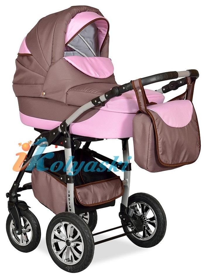 Детская Коляска 2 в 1 с поворотными колесами, коляска для новорожденных, модульная коляска с прогулочным блоком INDIANA '17  2 в 1 , фирма Smile Line, Польша. Цвет IN 24