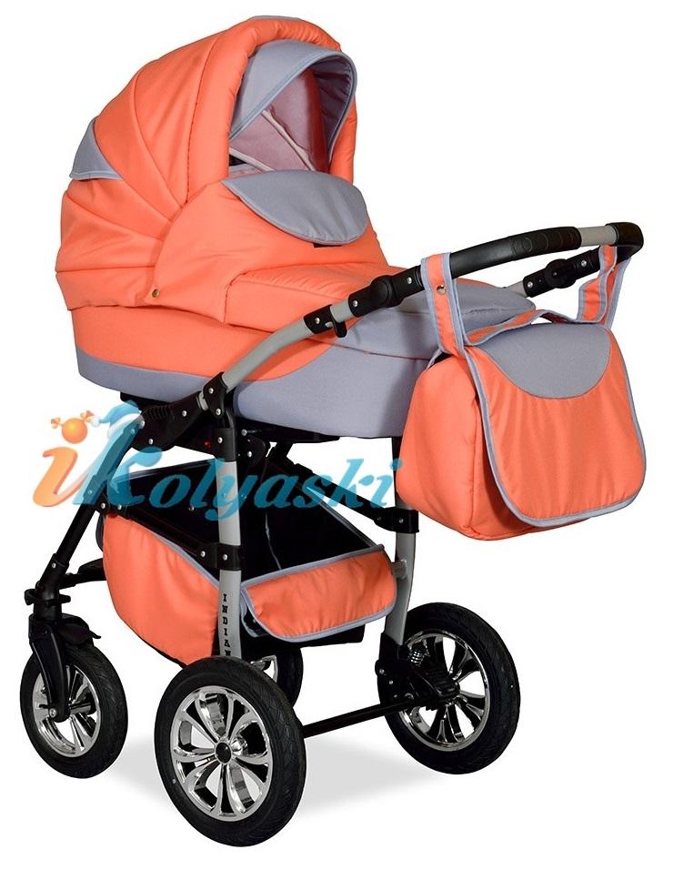Детская Коляска 2 в 1 с поворотными колесами, коляска для новорожденных, модульная коляска с прогулочным блоком INDIANA '17  2 в 1 , фирма Smile Line, Польша. Цвет IN 25