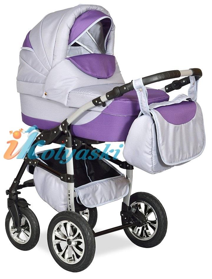 Детская Коляска 2 в 1 с поворотными колесами, коляска для новорожденных, модульная коляска с прогулочным блоком INDIANA '17  2 в 1 , фирма Smile Line, Польша. Цвет IN 26
