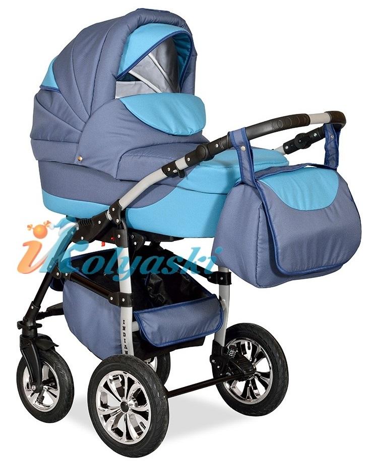 Детская Коляска 2 в 1 с поворотными колесами, коляска для новорожденных, модульная коляска с прогулочным блоком INDIANA '17  2 в 1 , фирма Smile Line, Польша. Цвет IN 27