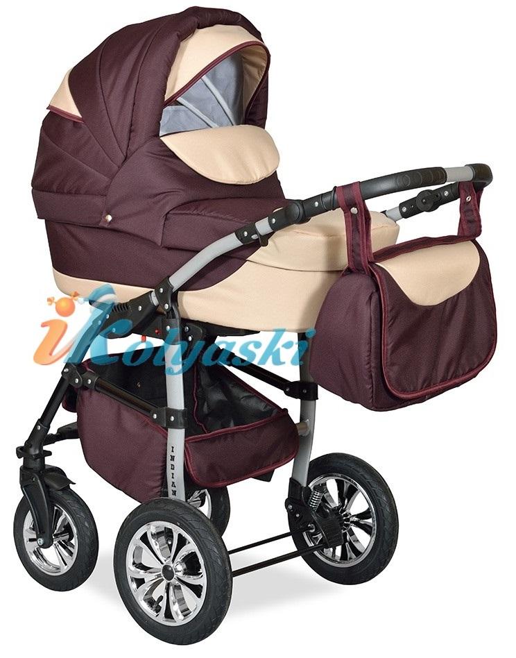 Детская Коляска 2 в 1 с поворотными колесами, коляска для новорожденных, модульная коляска с прогулочным блоком INDIANA '17  2 в 1 , фирма Smile Line, Польша. Цвет IN 28