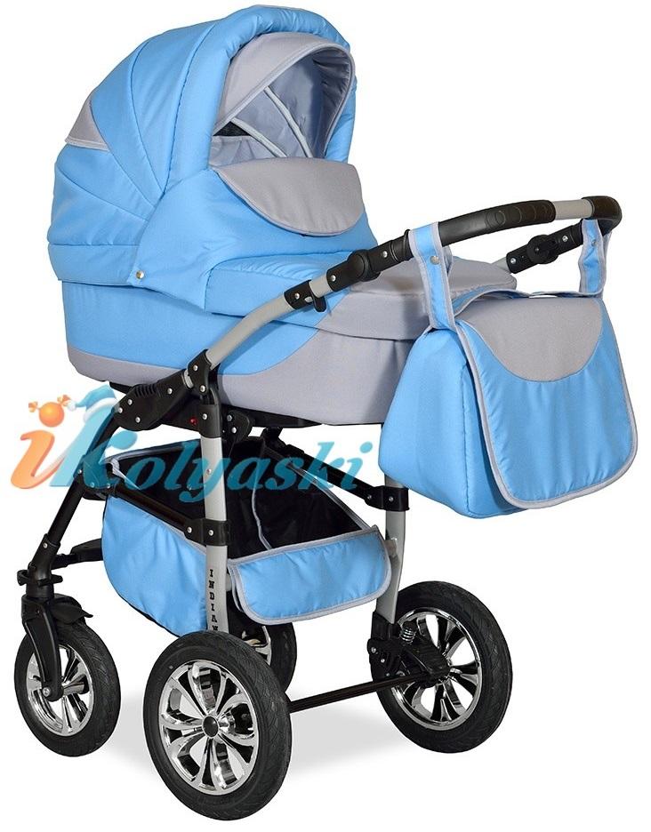 Детская Коляска 2 в 1 с поворотными колесами, коляска для новорожденных, модульная коляска с прогулочным блоком INDIANA '17  2 в 1 , фирма Smile Line, Польша. Цвет IN 30
