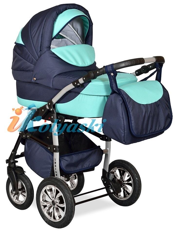 Детская Коляска 2 в 1 с поворотными колесами, коляска для новорожденных, модульная коляска с прогулочным блоком INDIANA '17  2 в 1 , фирма Smile Line, Польша. Цвет IN 31