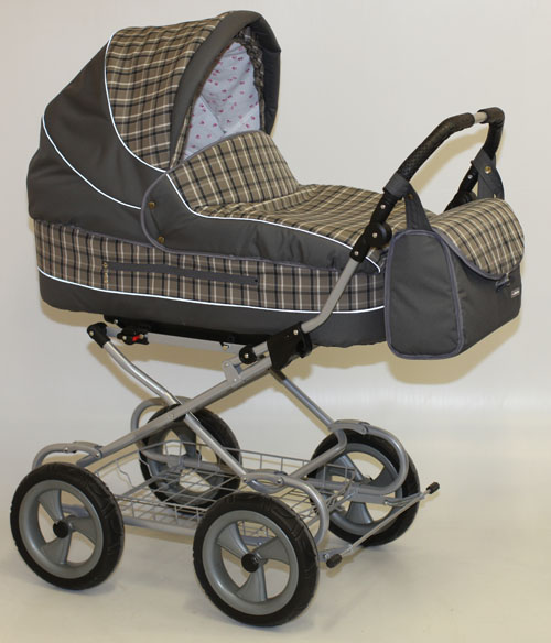 Коляска для новорожденных Little Trek LUXE РЕГУЛЯРНАЯ коллекция, шасси СУПЕР, колеса ЛИТЫЕ, имитация шин, диски ударопрочный пластик